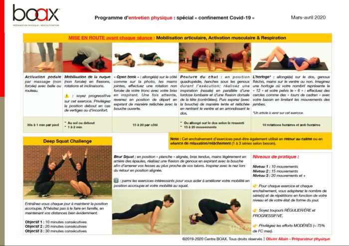 Partie mobilisation articulaire et activation musculaire du programme